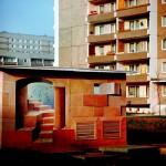 Bildkünstlerisch gestaltetes Trafohaus im Innenhof der Ringstraße, 1984, Nachweis: © Harald Kirschner